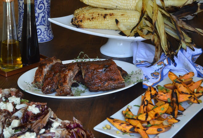 Salad, ribs, corn, sweet potatoes, and even dessert, are all prepared on the grill.