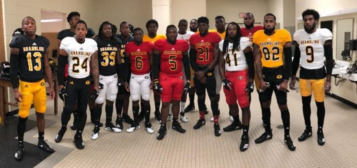 Grambling State shows off its new adidas game jerseys Wednesday night.