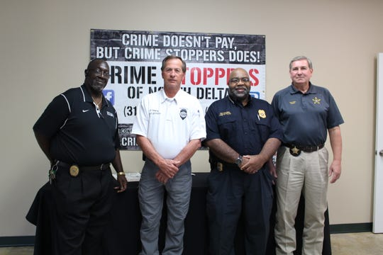 Rayville Chief of Police Willie Robinson Sr., Mangham Chief of Police Perry Fleming, Delhi Chief of Police Roy Williams and Richland Parish Sheriff Gary Gilley at a press conference announcing the expansion of Crime Stoppers of North Delta into Richland Parish.