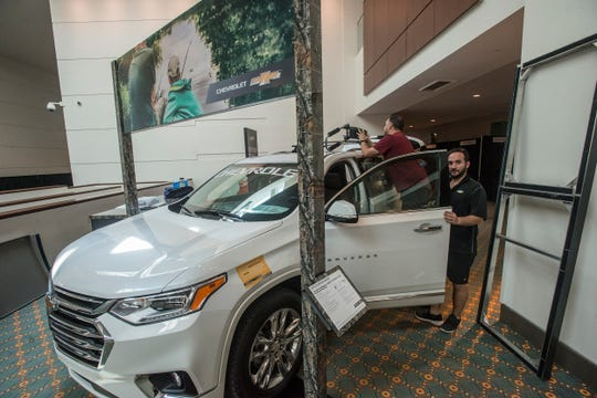 Finishing touches are put on a Chevrolet exhibit. Vendor set up for Buckmasters Expo 2018 took place Thursday, Aug. 16, 2018. Buckmasters Expo will be held at the Convention Center in downtown Montgomery on Friday, Saturday and Sunday.