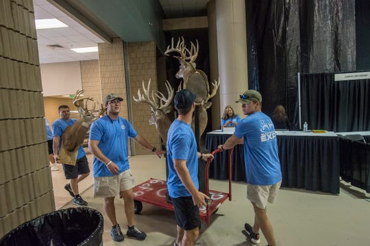 Deer head trophy exhibits are brought in. Vendor set up for Buckmasters Expo 2018 took place Thursday, Aug. 16, 2018. Buckmasters Expo will be held at the Convention Center in downtown Montgomery on Friday, Saturday and Sunday.