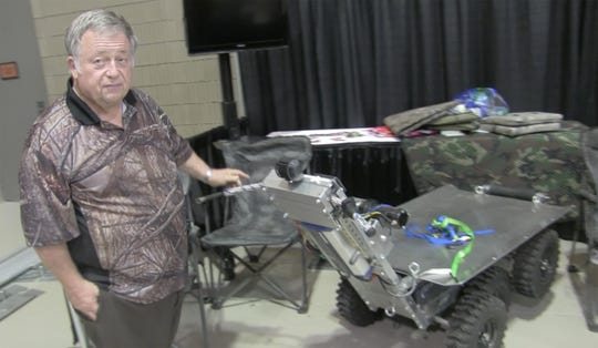 Mark Pool, owner of Kartsco, shows off his Extreme Off-Road Cart No. 1. Vendor set up for Buckmasters Expo 2018 took place Thursday, Aug. 16, 2018. Buckmasters Expo will be held at the Convention Center in downtown Montgomery on Friday, Saturday and Sunday.