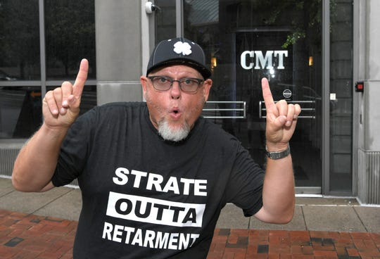 "Country music comedian Cledus T. Judd stands the outside CMT's headquarters in Nashville on Thursday, Aug. 16, 2018, after his latest parody song, ""(Weight's Goin) Up Down),"" hit the top 5 on the video charts."