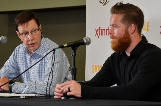 Defenseman Ryan Ellis and GM David Poile will talk about Ellis' new contract that is an eight-year, $50 million deal that will see him remain in Nashville through the 2026-27 seasonThursday Aug. 16, 2018, in Nashville, Tenn.
