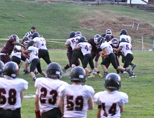 The Fairview Middle School Falcons on the field against the Dickson Dragons.
