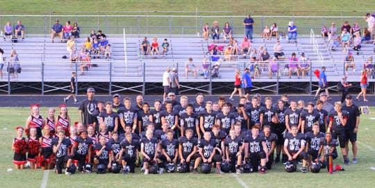 The 2018 Fairview Middle School Falcon Football Team, coaches and cheerleaders