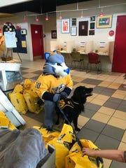 Bryson recently had a visit with Nashville Predators mascot Gnash.