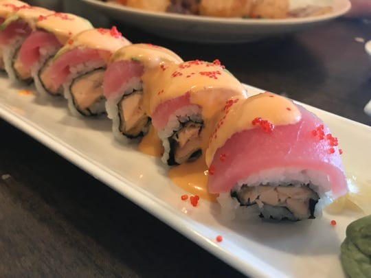 This Naples sushi roll comes with deep fried salmon, tuna and avocado topped off with spicy mayo and masago at Tokyo Sushi & hibachi off Vanderbilt Beach Road and Collier Boulevard.