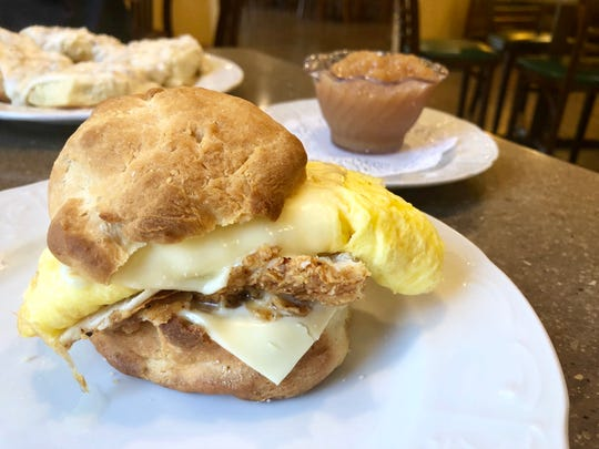 Fried chicken, egg and cheese on a biscuit at Trail Cafe & Grill in North Naples.