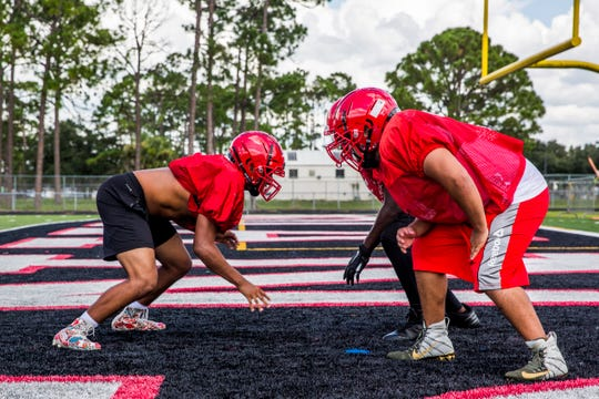Immokalee High School football team holds practice after school on Wednesday, Aug. 15, 2018.