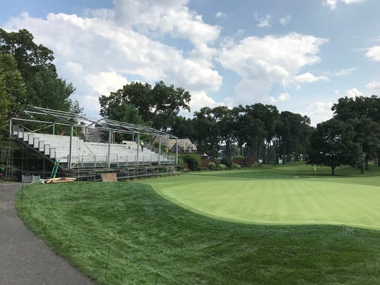 Bleachers are constructed to accommodate the 20,000-24,000 fans that will attend The Northern Trust daily.