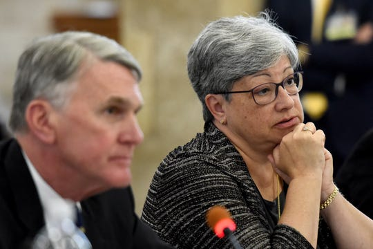 NJ Transit Executive Director Kevin Corbett and Department of Transportation Commissioner Diane Gutierrez-Scaccetti testify before members of the New Jersey Assembly Transportation and Independent Authorities committee and the Senate Transportation Committee during a hearing concerning recent problems with NJ Transit rail passenger service. The hearing was held at in the State House Annex in Trenton on Thursday, August 16, 2018.