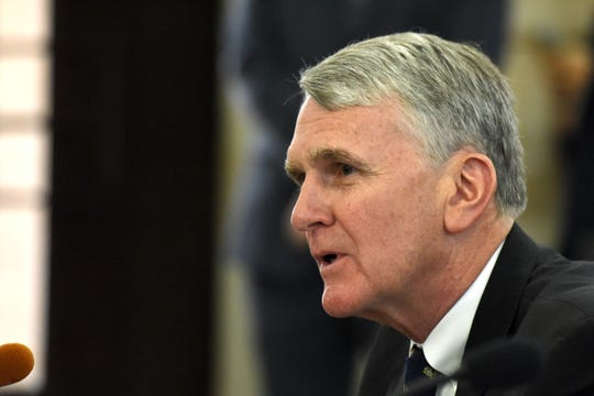 NJ Transit Executive Director Kevin Corbett testifies before members of the New Jersey Assembly Transportation and Independent Authorities committee and the Senate Transportation Committee during a hearing concerning recent problems with NJ Transit rail passenger service. The hearing was held at in the State House Annex in Trenton on Thursday, August 16, 2018.