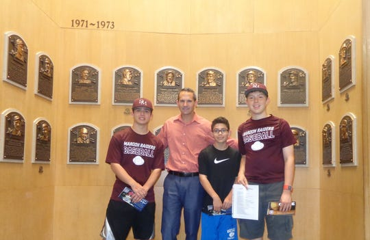 Myles Campbell, Jeff Idelso, president of the National Baseball Hall of Fame, Conor Campbell and Charlie Sorbanelli, Myles friend in Cooperstown.