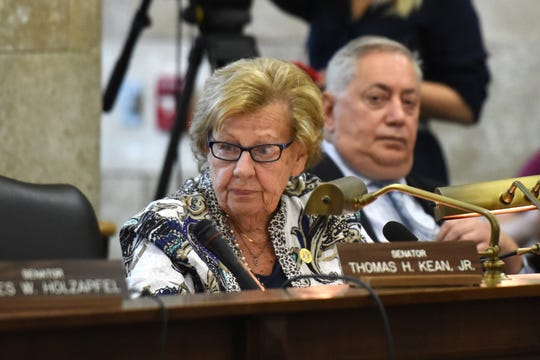 Senate Majority Leader Loretta Weinberg (D-37th district) questions NJ Transit Executive Director Kevin Corbett and Department of Transportation Commissioner Diane Gutierrez-Scaccetti, during a hearing held by the New Jersey Assembly Transportation and Independent Authorities committee and the Senate Transportation Committee. The hearing addressed recent problems with NJ Transit rail passenger service and was held at in the State House Annex in Trenton on Thursday, August 16, 2018.