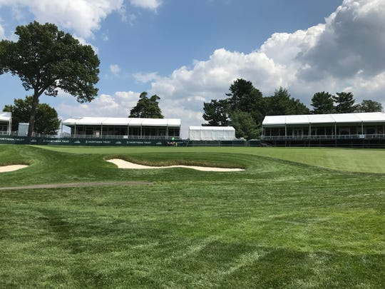 View of sponsor tents from the golf course.