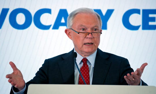 Attorney General Jeff Sessions speaks about religious liberty at the Orthodox Union Advocacy Center's annual leadership mission Wednesday, June 13, 2018, in Washington. Sessions announced that the Department of Justice has filed a lawsuit against the Borough of Woodcliff Lake, New Jersey, alleging that the borough and its zoning board violated the Religious Land Use and Institutionalized Persons Act of 2000 (RLUIPA) when it denied zoning approval to allow the Valley Chabad, an Orthodox Jewish congregation located in Woodcliff Lake, to build a new place of worship on its land in the borough.
