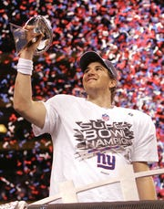 MVP Eli Manning after the Giants Super Bowl XLVI against the New England Patriots on February 5, 2012 in Indianapolis.