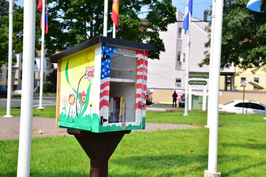 A Little Free Library drop box at Pan American Park in Paterson, NJ.