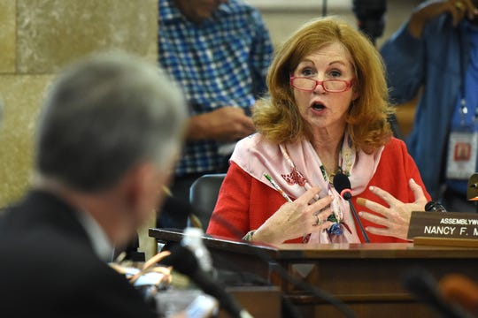 Assemblywoman Nancy Munoz question NJ Transit Executive Director Kevin Corbett during a hearing held by the New Jersey Assembly Transportation and Independent Authorities committee and the Senate Transportation Committee concerning recent problems with NJ Transit rail passenger service. The hear was held at in the State House Annex in Trenton on Thursday, August 16, 2018.