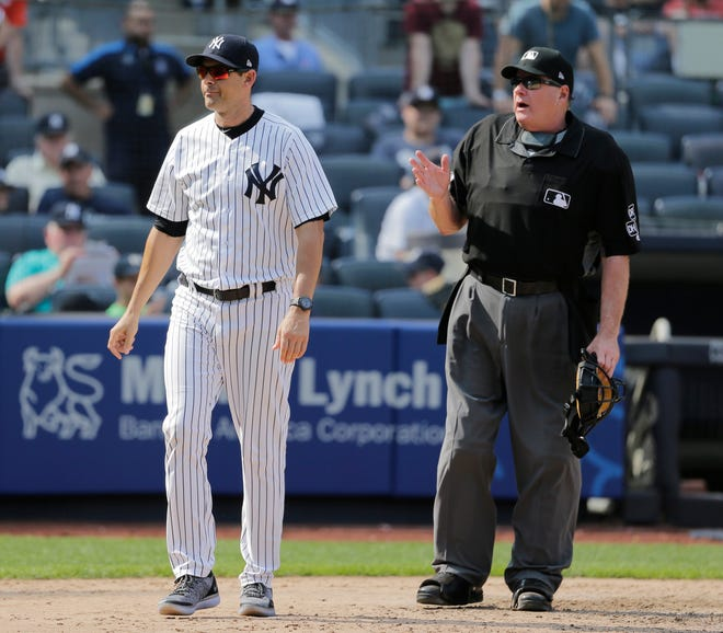 New York Yankees manager Aaron Boone, left, argues with umpire Jerry Layne after the umpires ruled a hit by Giancarlo Stanton a ground rule double during the eighth inning of a baseball game against the Tampa Bay Rays at Yankee Stadium Thursday, Aug. 16, 2018, in New York.