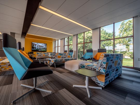 An interior shot of the new Center for Computing and Information Science, housed in the renovated Mallory Hall.