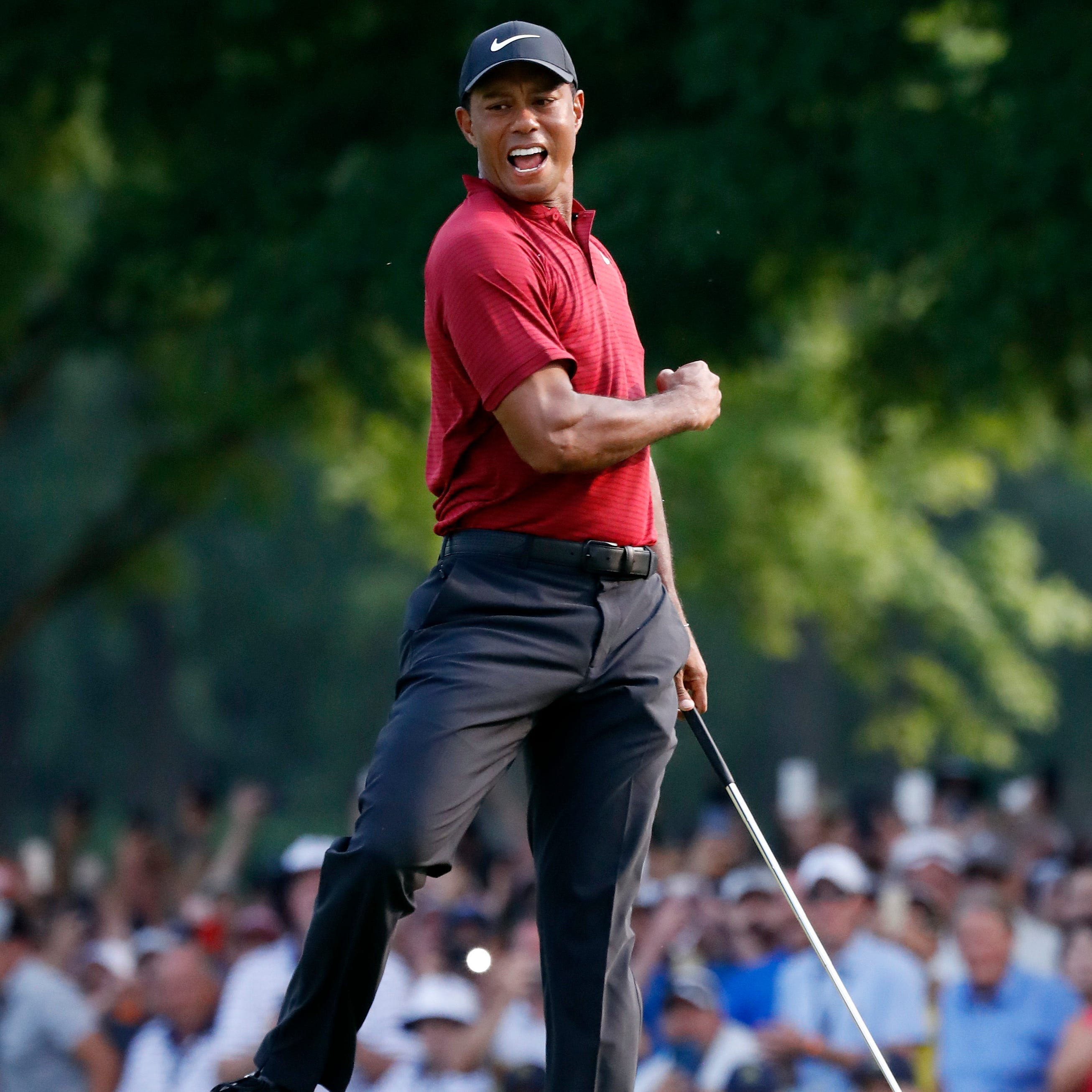 Tiger Woods celebrates after making a birdie putt on the 18th green during the final round of the PGA Championship golf tournament at Bellerive Country Club, Sunday, Aug. 12, 2018, in St. Louis. (AP Photo/Brynn Anderson)