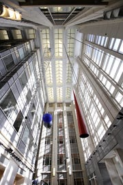 The atrium of Seton Hall University's Interprofessional Health Sciences Campus in Clifton and Nutley, the new home of Hackensack Meridian School of Medicine, College of Nursing and School of Health and Medical Sciences.
