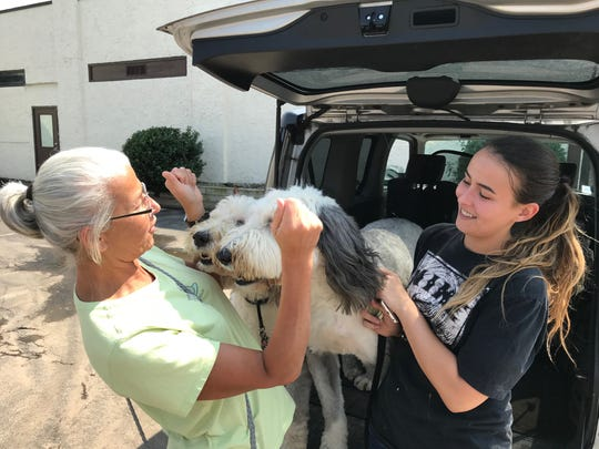 Elizabeth Devine was happy her English sheepdogs Morgan and Stanley were safe after surviving a flood at their dog daycare center in Woodland Park last Saturday.