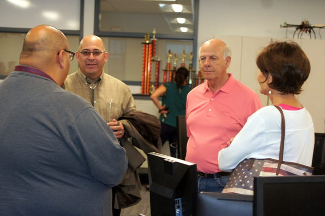 U.S. Congressman Steve Pearce visited with teachers, administrators and staff during a tour of the new Deming High School on Tuesday, Aug. 14.