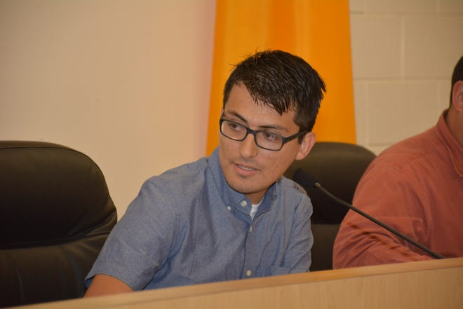 Daniel Estupinan speaks at a Gadsden Independent School District board meeting on Aug. 9, after being selected as the president of the board, replacing outgoing president Daniel Castillo.