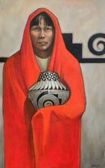"""Red Robe,"" by Mary Beagle, the Doña Ana Arts Council's artist of the month for September."