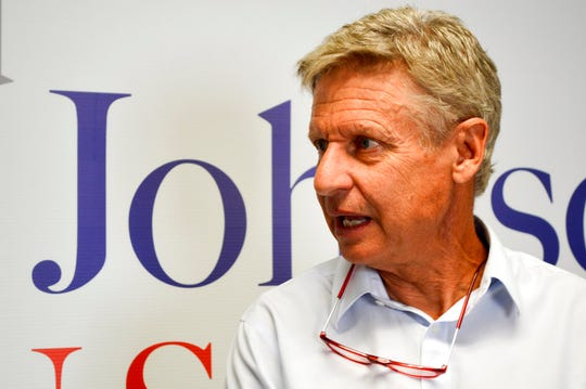 Former Libertarian presidential candidate Gary Johnson talks to reporters on Thursday, Aug. 16, 2018, about his decision to join the U.S. Senate race in New Mexico.