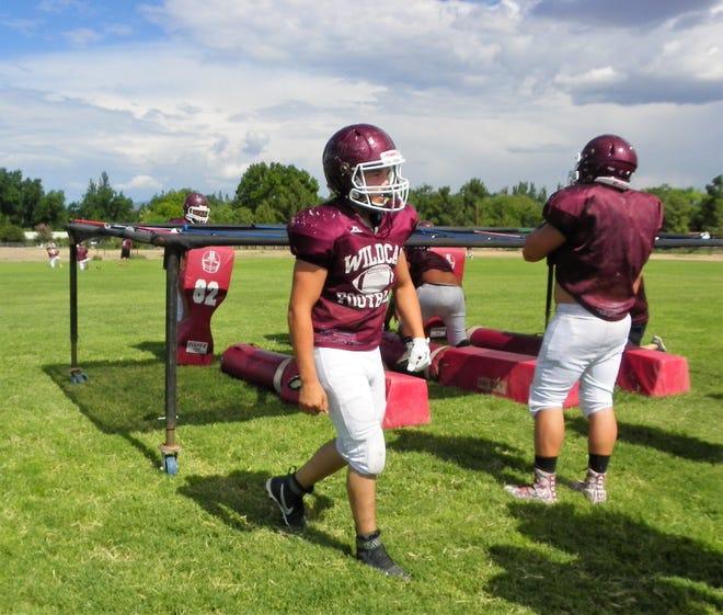 Tularosa High School Isaiah Diaz at Wildcats football practice Wednesday.