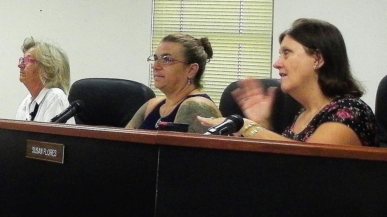 The Otero County Commission from left Commissioner Janet White, Commission Chairwoman Lori Bies and Commissioner Susan Flores.