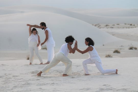 """The dancers were filming a video at White Sands this week for the """"Song of Light"""" from Tandon's recent album """"Shivoham - the Quest."""""""