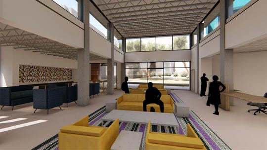 A rendering of the proposed interior of the entrance to the  San Juan College housing being developed. College officials are hoping for an August 2020 opening date.