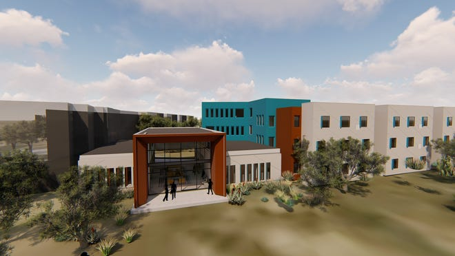 A rendering of the proposed exterior of the in-development San Juan College housing on its main campus in Farmington. College officials are hoping for an August 2020 opening date.