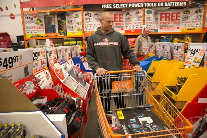 Larry Casaus shops at the Home Depot, in a file photo from Nov. 2017 in Farmington.