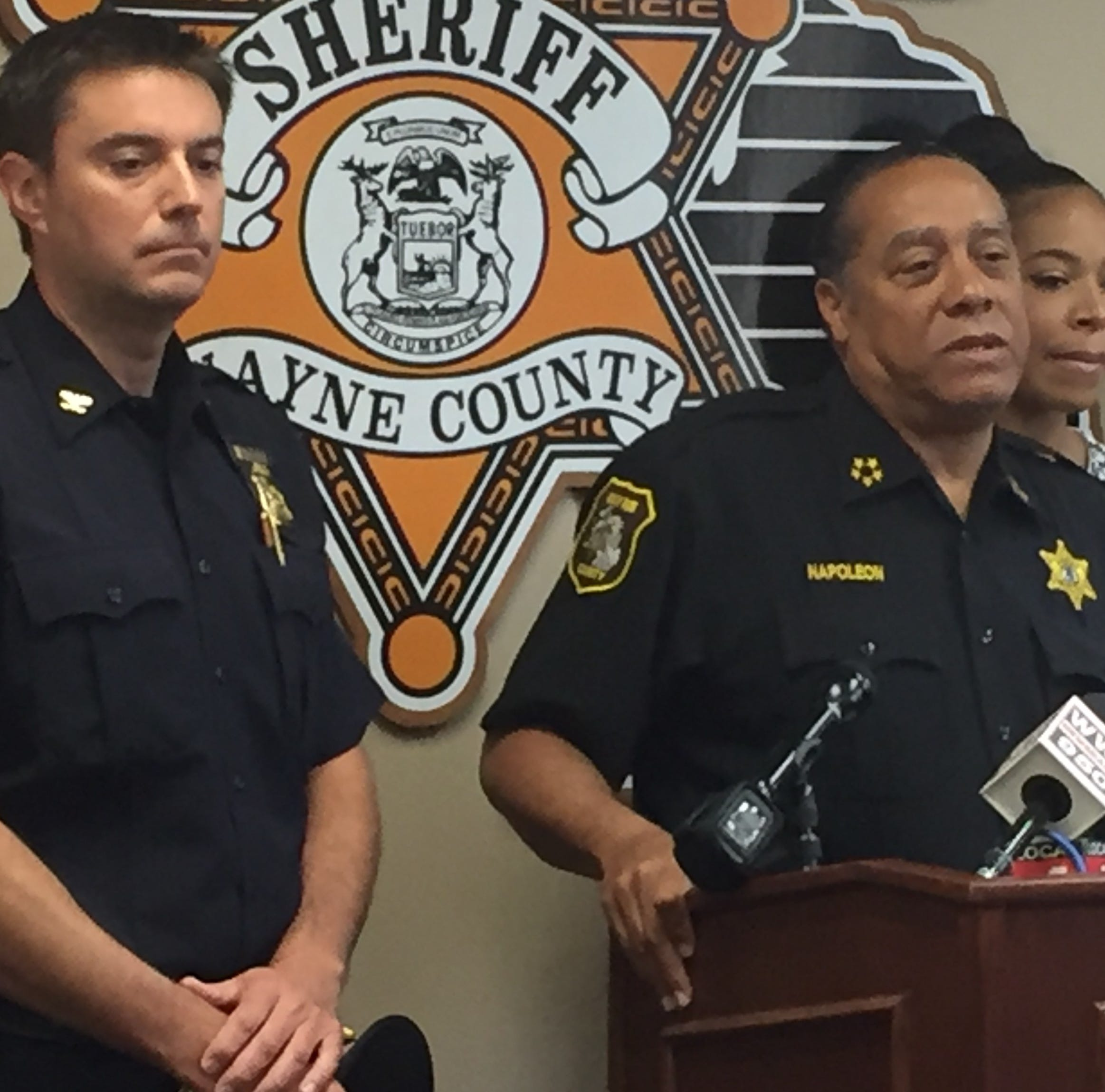 Westland Police Chief Jeff Jedrusik, left, and Wayne County Sheriff Benny Napoleon at a Thursday press conference after the arrest of a suspect in the death of Sgt. Lee Smith, a deputy sheriff killed in an Aug. 14 hit-and-run.