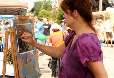 Artists will be traveling throughout Oshkosh and performing during the 4-day Plein Art Festival