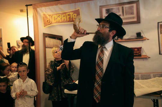 Rabbi Shimon Posner at Chabad of Rancho Mirage's torah dedication Wednesday.