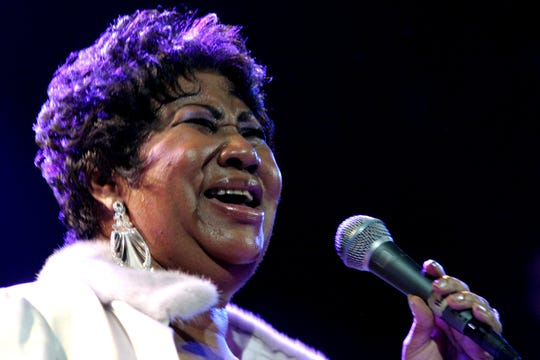FILE - In this Nov. 21, 2008 file photo, Aretha Franklin performs at the House of Blues in Los Angeles.   Franklin died Thursday, Aug. 16, 2018 at her home in Detroit.  She was 76.