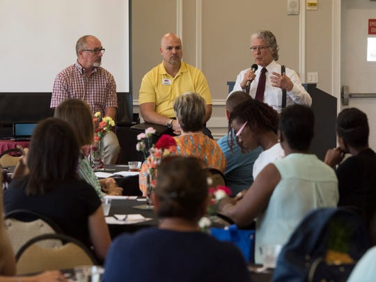 Navy Legal Service Office representative, Sam Daniel and UWF Small Business Development Center rep. Kelly Massey, and UWF Military and Veterans Resource Center rep. Robert Foster, offer advice to participants in the Military Spouse Entrepreneurship Symposium on board Pensacola Naval Air Station Thursday, Aug. 16, 2018.