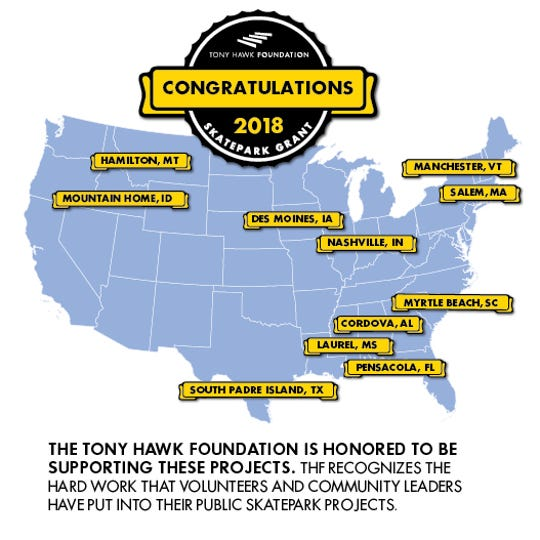 A graphic made by the Tony Hawk Foundations shows a map of the 11 cities chosen to receive grants toward new skate parks.