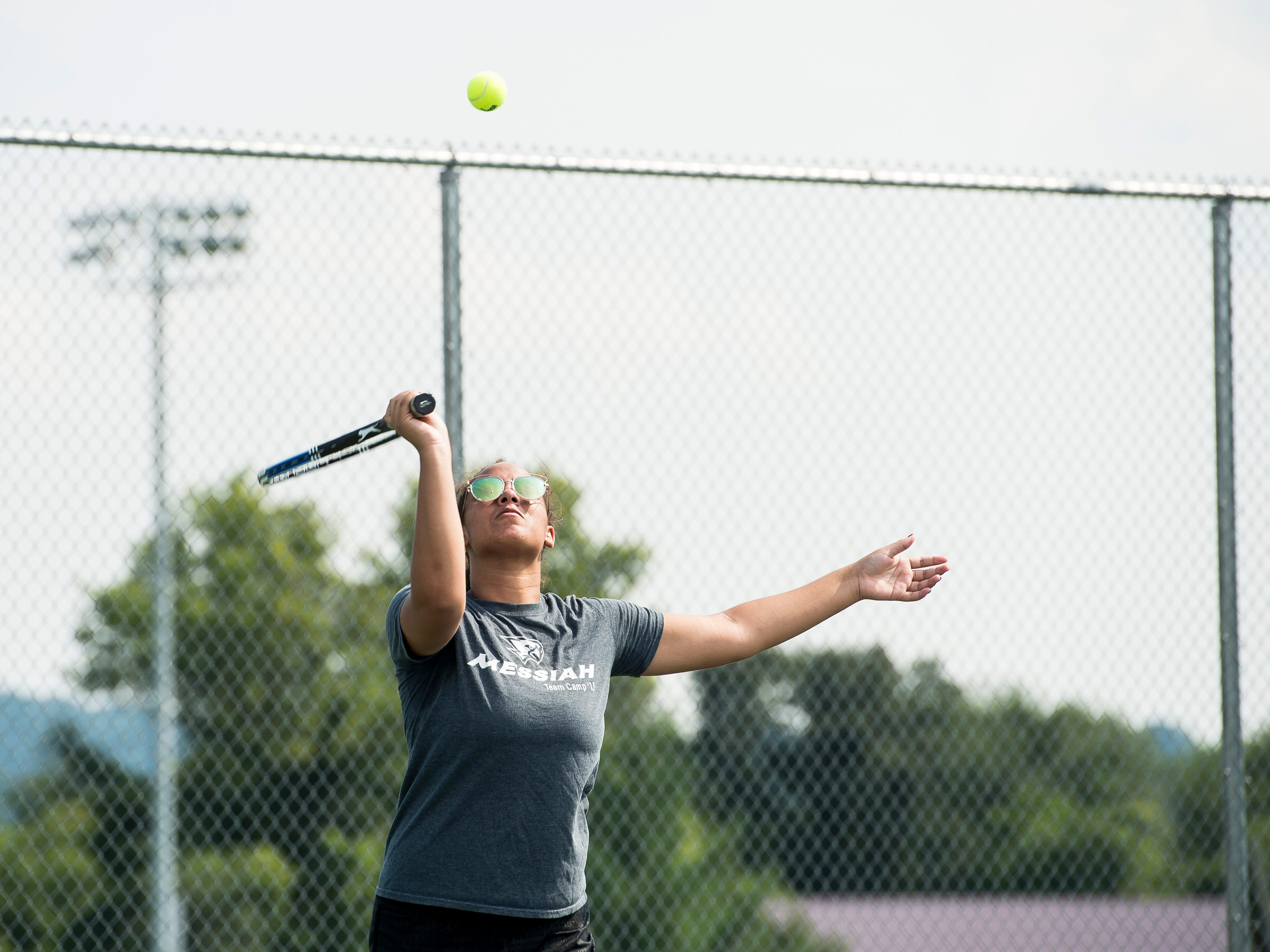 Bermudian Springs' Terisha Selby serves during practice on Thursday, August 16, 2018.