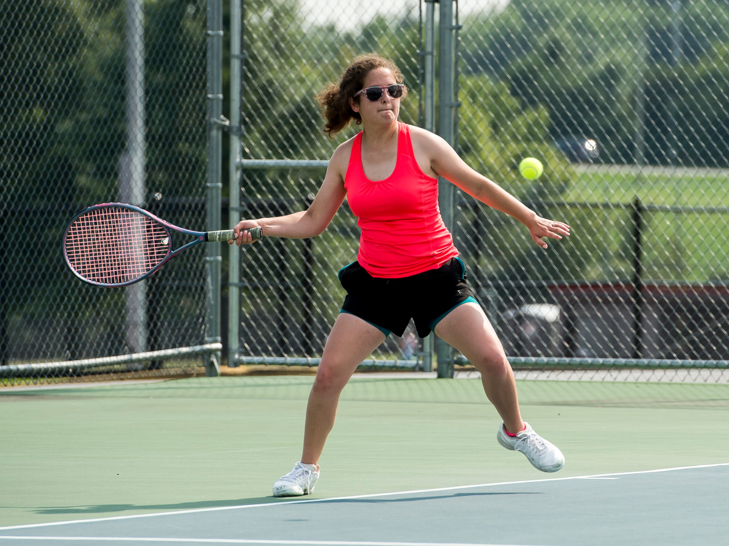 Bermudian Springs' Becky Shank prepares to hit the ball to her partner during practice on Thursday, August 16, 2018.