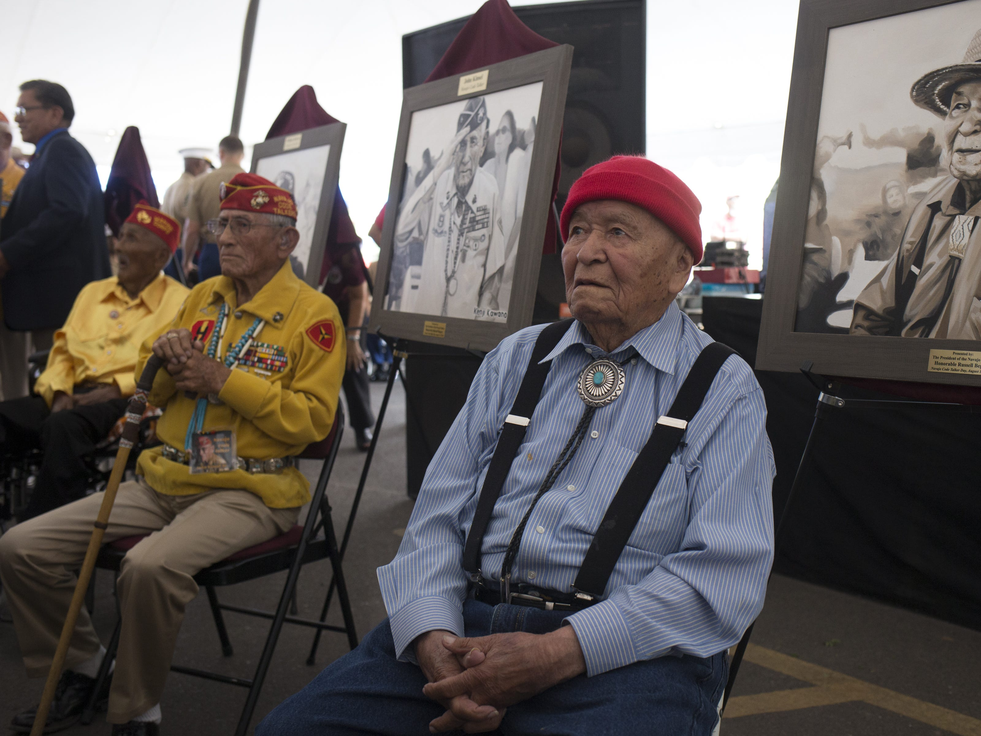 From right: Navajo Code Talkers John Pinto, John Kinsel, Sr. and William T. Brown during the Navajo Nation Code Talkers Day ceremony on Aug. 14, 2018, at the Veterans Memorial Park in Window Rock.