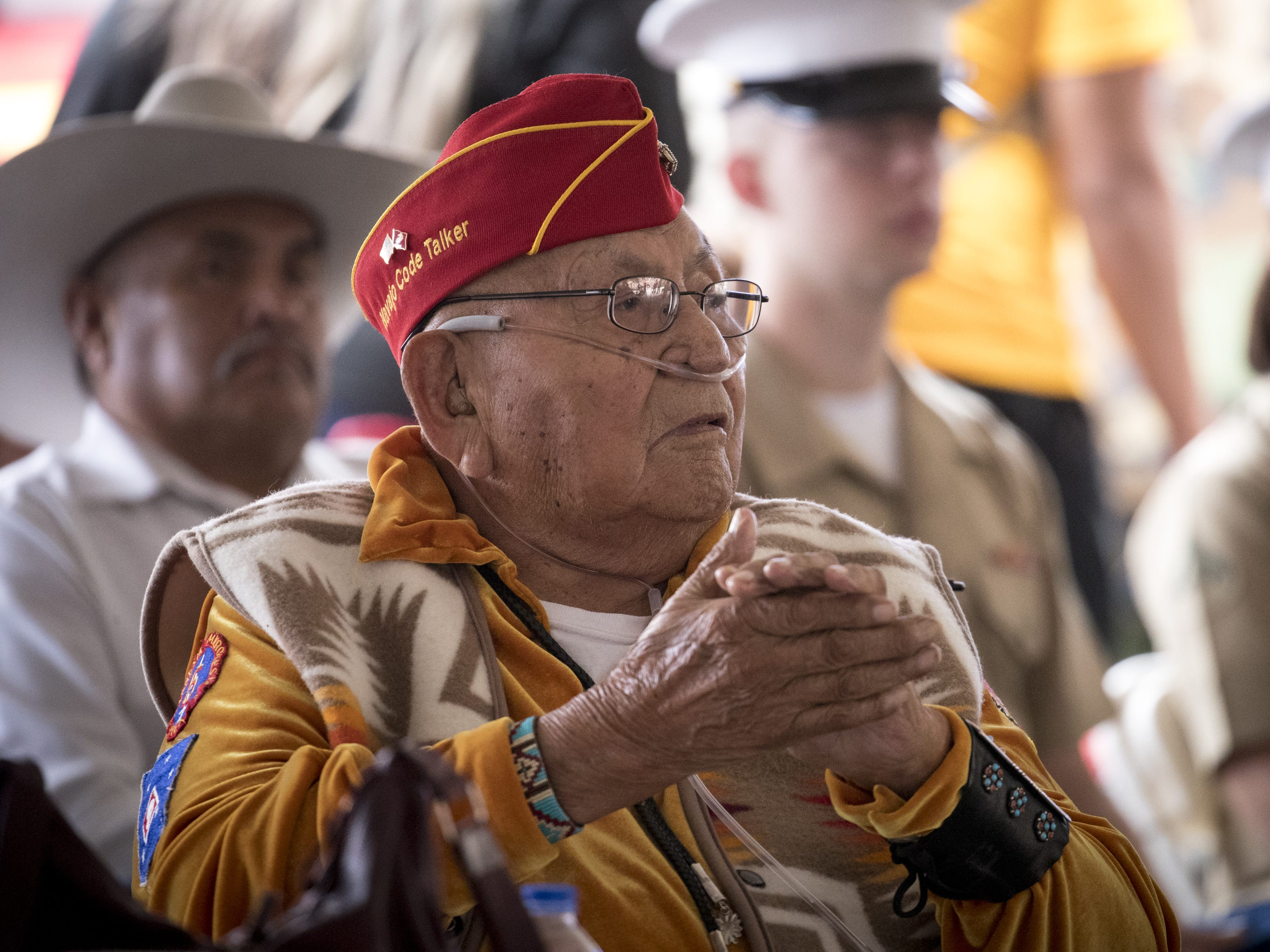 Navajo Code Talker Joe Vandever, Sr. listens during the Navajo Nation Code Talkers Day ceremony on Aug. 14, 2018, at the Veterans Memorial Park in Window Rock.