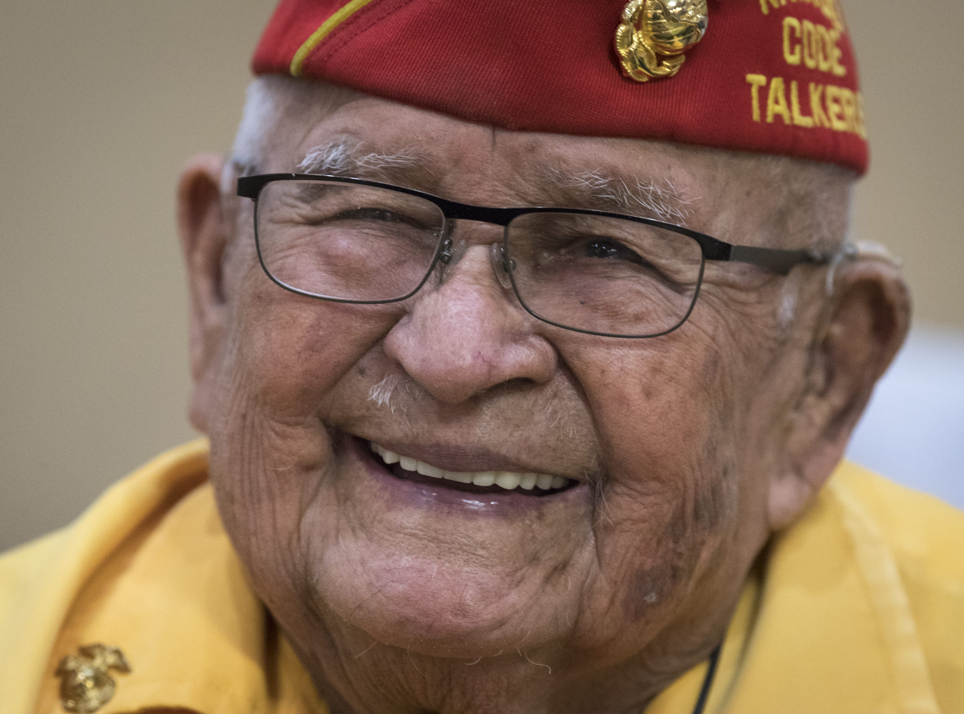 Navajo Code Talker Sam Sandoval talks with guests on Aug. 14, 2018, after speaking at the Cortez Cultural Center in Cortez, Colorado.